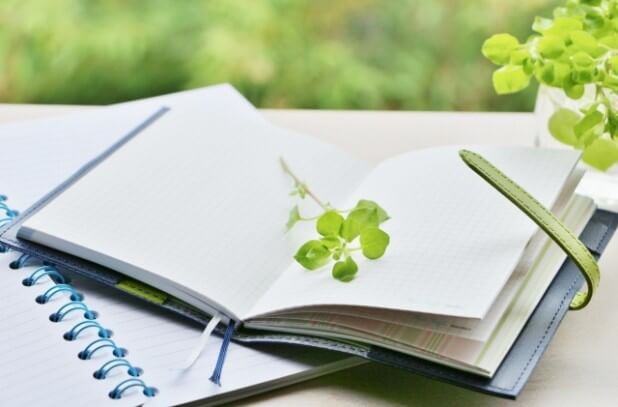 手帳と植物