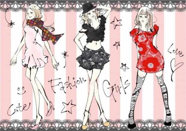 ファッションを楽しむ女性たちのイラスト2