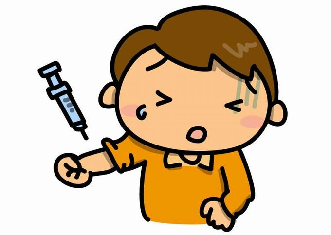 注射をうける男の子