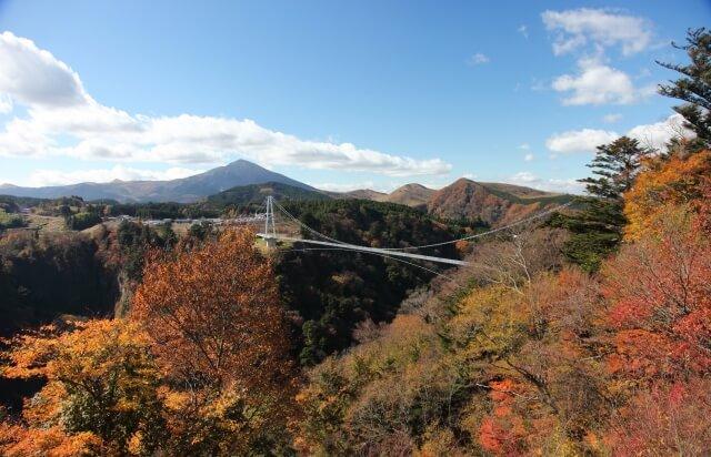 紅葉の九重夢大吊橋